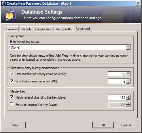 KeePass - Rošírené nastavenia vytvorenia databázy hesiel