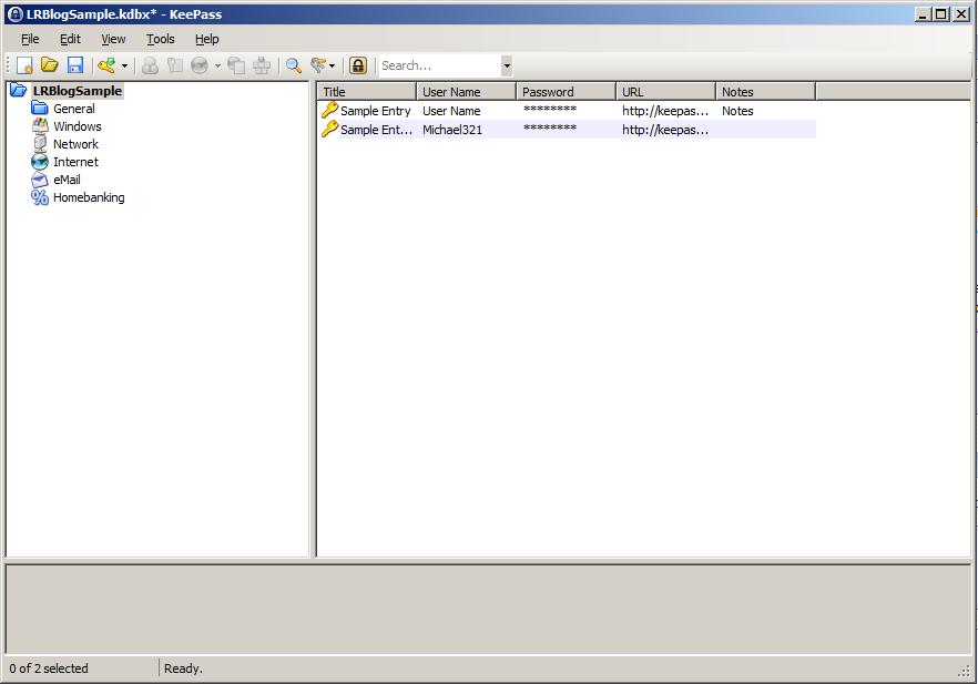 KeePass - Databáza vytvorená