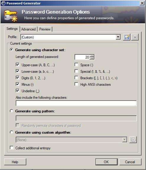 KeePass - Generovanie hesla - Nastavenia
