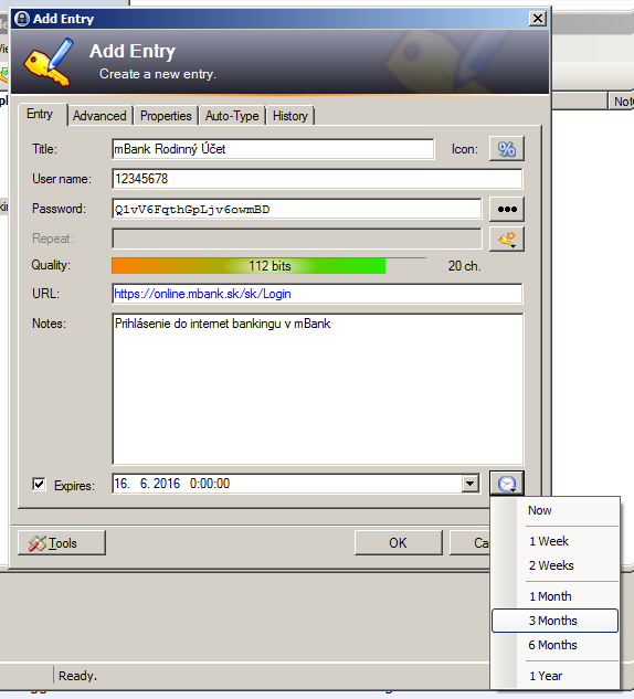 KeePass - Nastavenie dátumu vypršania hesla