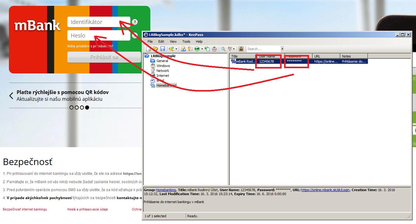 KeePass - Prihlásenie do internetovej služby