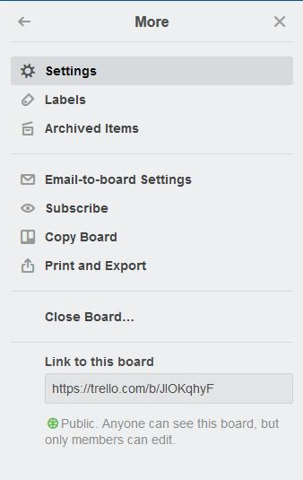 Trello - Rozšírené board menu