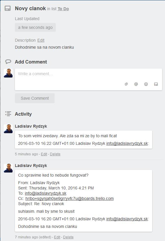 Trello - Ukážka funkcionality Email-to-board