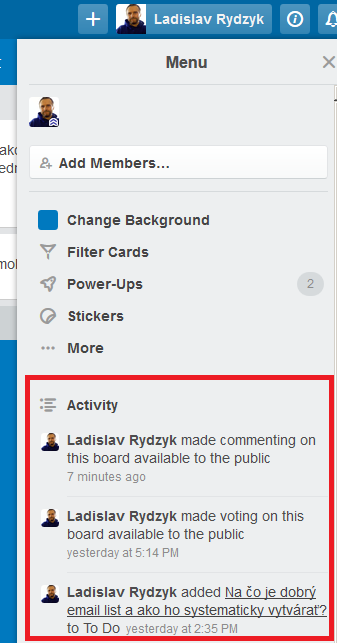Trello - Aktivity na boarde