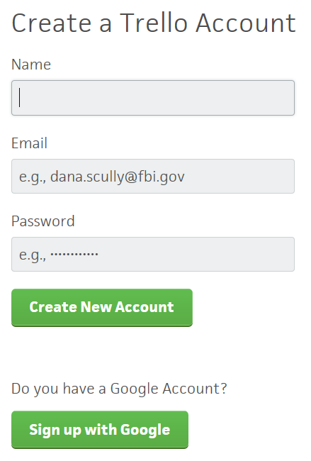 Trello - Registračný formulár