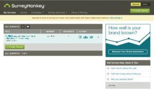 Survey Monkey - Úvodné okno